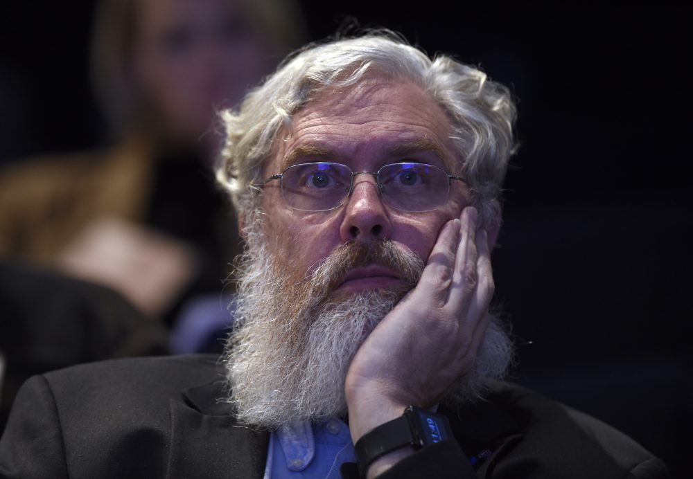 Harvard Medical School's George Church listens to a panel discussion at the National Academy of Sciences international summit on the safety and ethics of human gene editing in Washington, on Dec. 1, 2015. (Susan Walsh/AP)