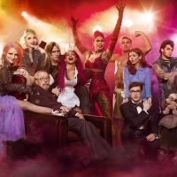 "Tim Curry, Reeve Carney, Christina Milian, Ben Vereen, Laverne Cox, Victoria Justice, Adam Lambert, Annaleigh Ashford, Ivy Levan, Ryan McCartan, and Staz Nair in a promotional photo for the 2016 FOX TV special, ""The Rocky Horror Picture Show: Let's Do The Time Warp Again."" (Courtesy FOX)"