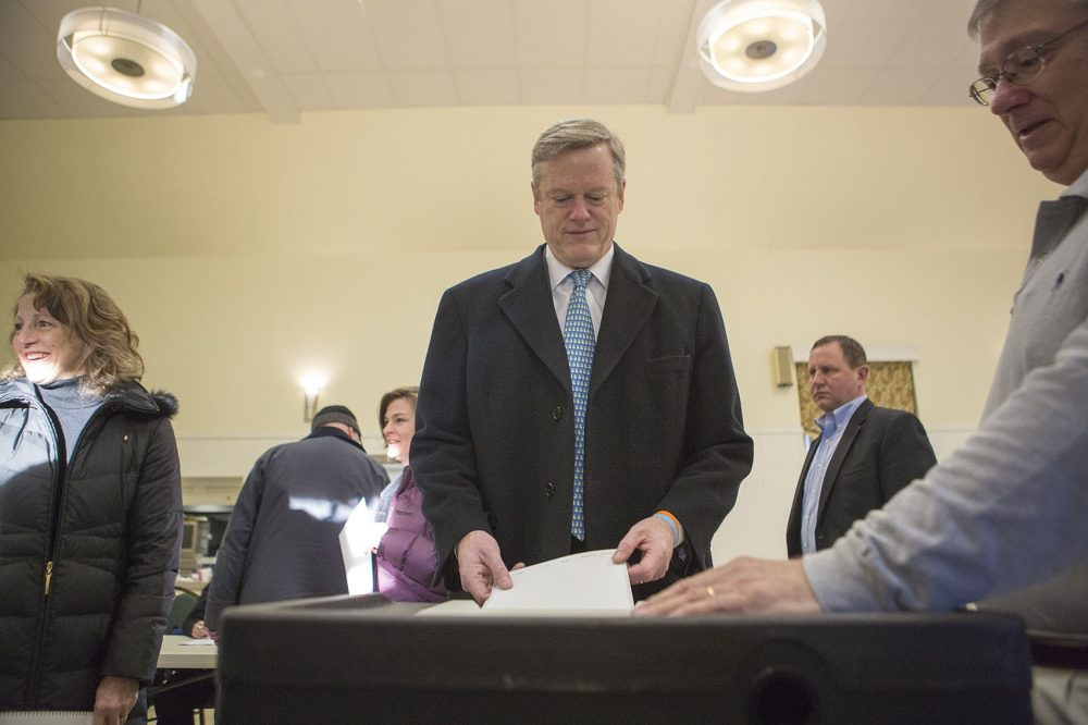 Massachusetts Gov. Charlie Baker casts his vote in the Republican primary in March. (Jesse Costa/WBUR)
