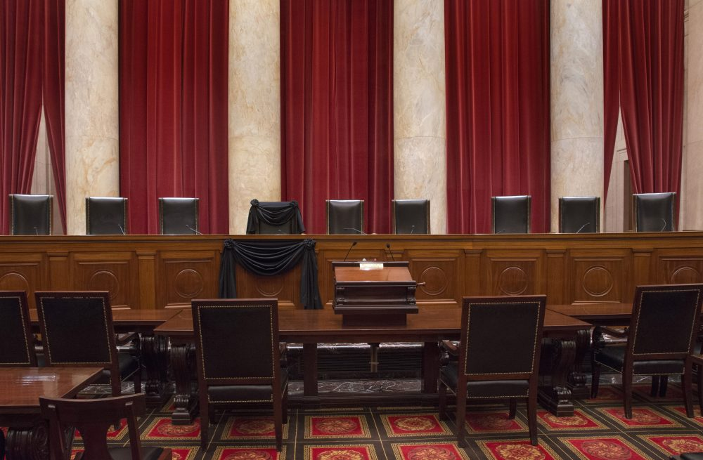 This photo provided by the Collection of the Supreme Court shows Associate Justice Antonin Scalia''s bench chair and the bench in front of his seat draped in black on Feb. 16 following his death. (Franz Jantzen/Collection of the Supreme Court of the United States via AP)