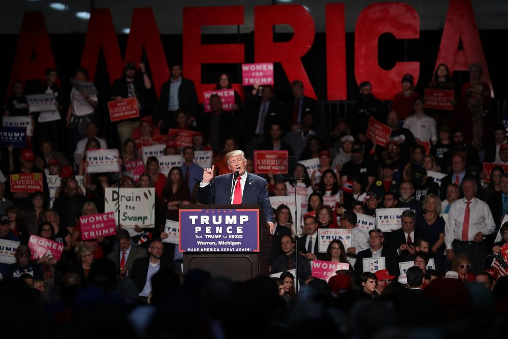 Republican presidential nominee Donald Trump holds a campaign rally at Macomb Community College South Campus Oct. 31, 2016 in Warren, Mich. (Chip Somodevilla/Getty Images)