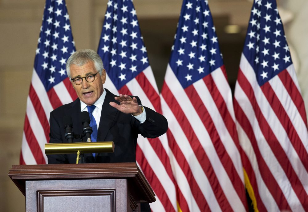 Former Secretary of Defense Chuck Hagel, speaks about his experiences as a soldier fighting in Vietnam, during a ceremony to commemorate the 50th anniversary of the Vietnam War on Capitol Hill in Washington, Wednesday, July 8, 2015. (Manuel Balce Ceneta/AP)