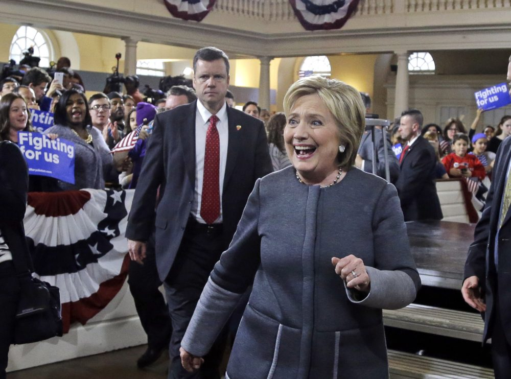 Democratic presidential candidate Hillary Clinton greets supporters during a campaign event at the Old South Meeting House on Monday in Boston. (Elise Amendola/AP)