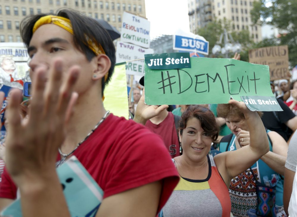 Supporters cheer as Dr. Jill Stein, presumptive Green Party presidential nominee, speaks at a rally in Philadelphia, Wednesday, July 27, 2016, during the third day of the Democratic National Convention. (Alex Brandon/AP)