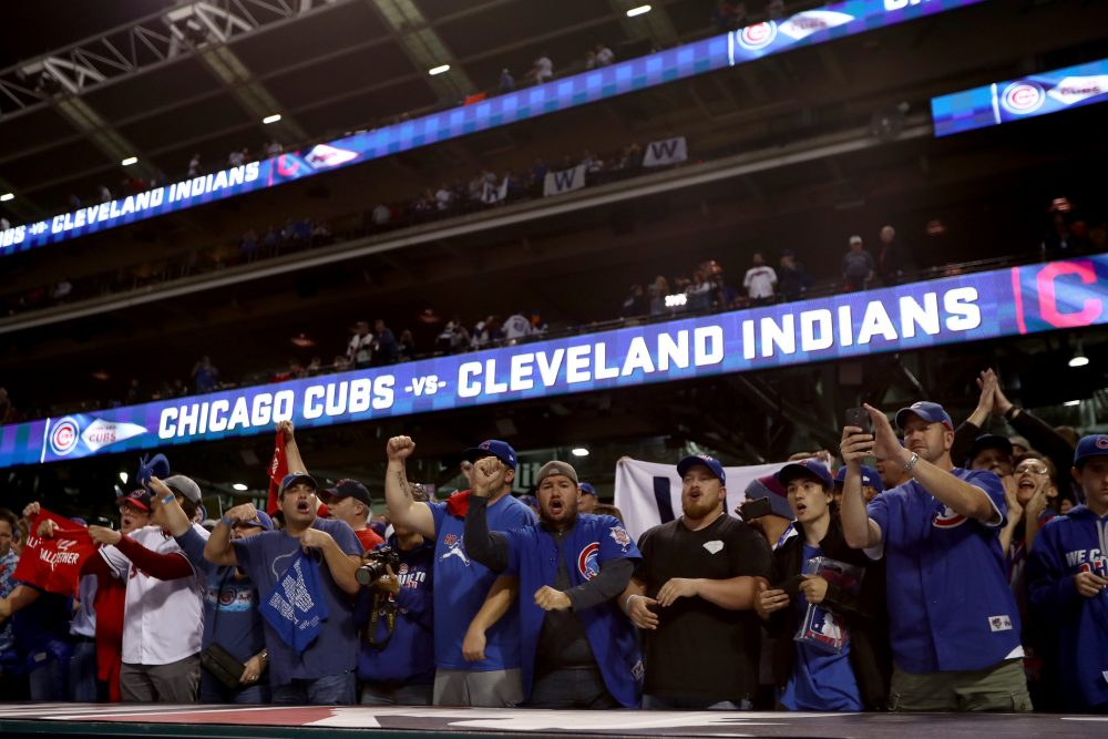 Chicago Cubs fans cheer after the Cubs defeated the Cleveland Indians 9-3 to win Game 6 of the 2016 World Series at Progressive Field on Nov. 1, 2016 in Cleveland, Ohio.  (Elsa/Getty Images)