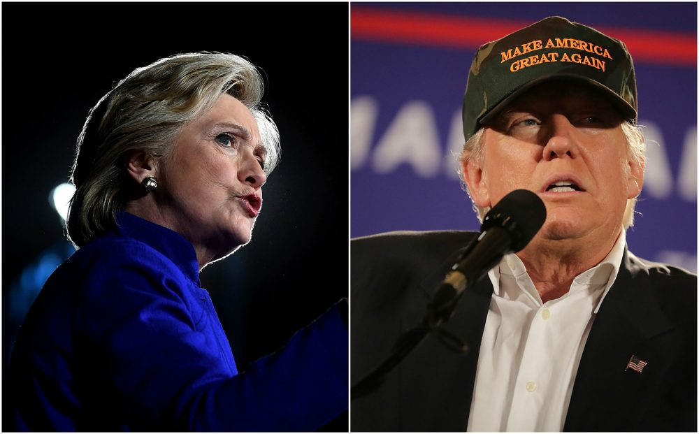 Hillary Clinton in Arizona and Donald Trump in Florida on Wednesday night. (Jewel Samad and Chip Somodevilla/Getty Images)