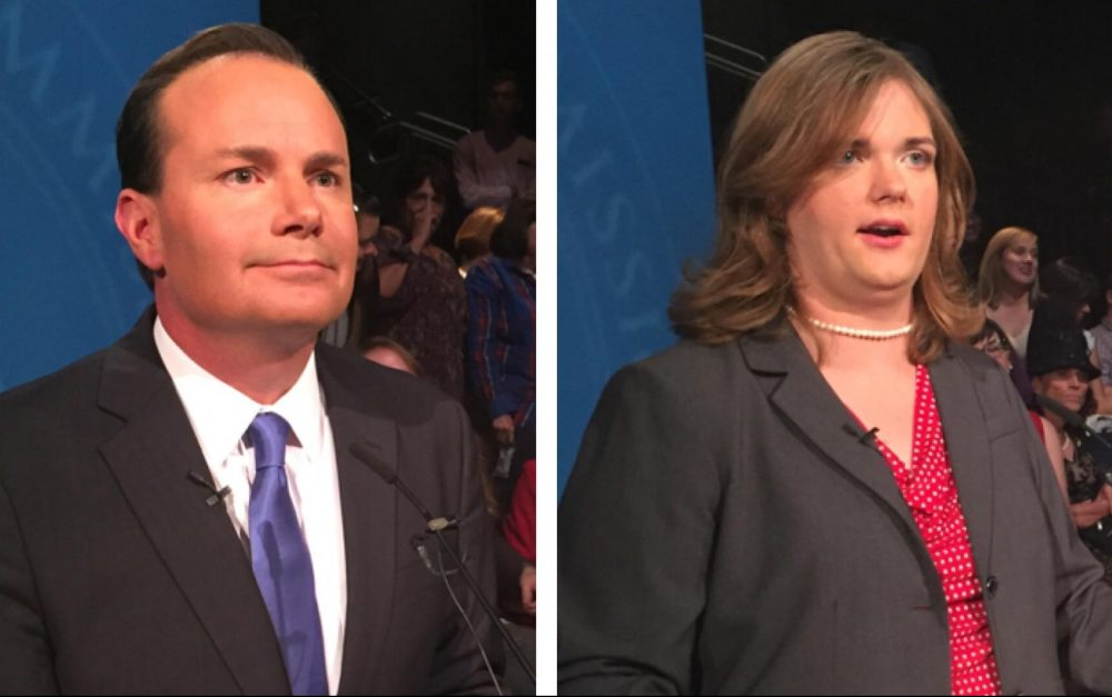 Sen. Mike Lee and Misty Snow answer questions from reporters following their debate at Brigham Young University on Oct. 12. (Julia Ritchey/KUER)