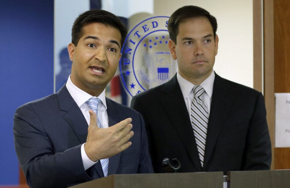 U.S. Rep. Carlos Curbelo, R-Fla., left, speaks during news conference as U.S. Sen. Marco Rubio, R-Fla., listens, Friday, June 3, 2016, in Doral, Fla. (Alan Diaz/AP)