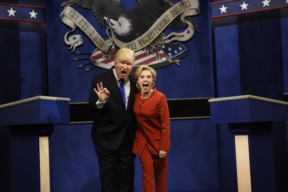 "Alec Baldwin, as Donald Trump, and Kate McKinnon, as Hillary Clinton, in a skit from NBC's ""Saturday Night Live."" (Courtesy Will Heath/NBC)"
