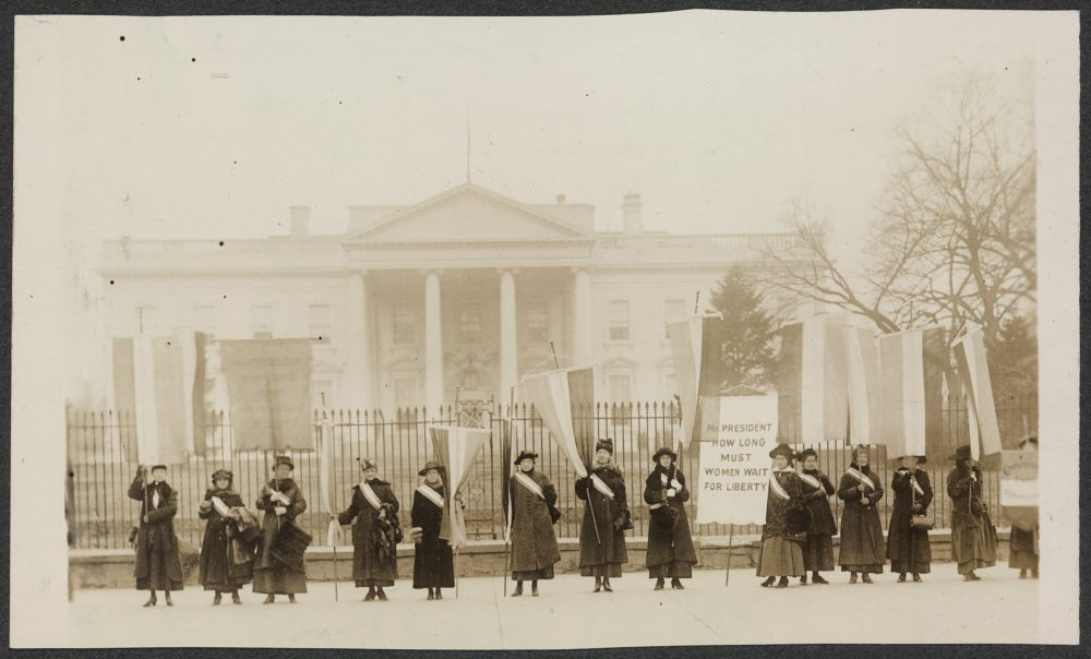 Suffragists picket in front of the White House in 1917. (Library of Congress/AP)