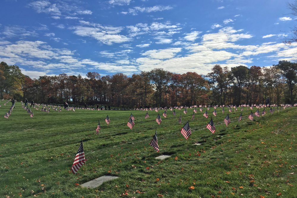 Ahead of Veterans Day (2016), volunteers placed American flags on the more than 60,000 graves at the Massachusetts National Cemetery on Cape Cod. (Alex Ashlock/Here & Now)
