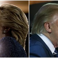 Hillary Clinton and Donald Trump, both pictured on Oct. 28, 2016. (AP photos)