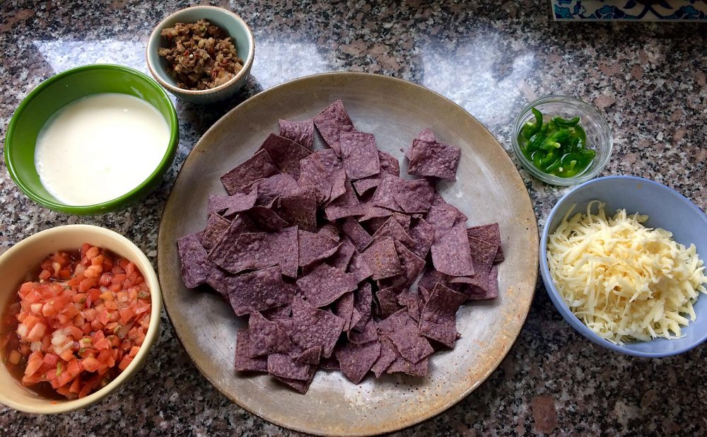The ingredients for Kathy's two-ways nachos. (Kathy Gunst for Here & Now)