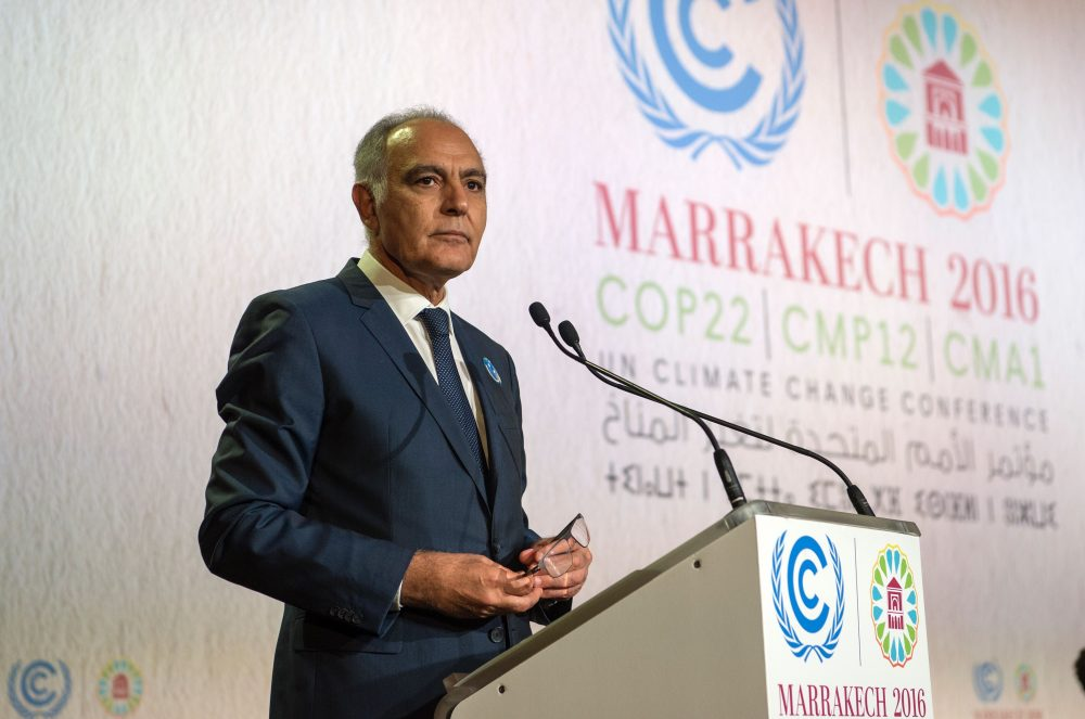 COP22 president Salaheddine Mezouar delivers a speech during the opening session of the COP22 climate talks in Marrakech, Morocco, on Nov. 7, 2016. (Fadel Senna/AFP/Getty Images)