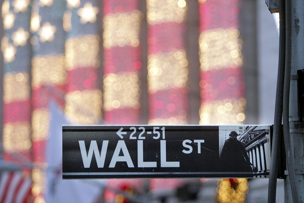 A Wall Street sign is seen in front of the New York Stock Exchange in New York City in 2006. (Mario Tama/Getty Images)