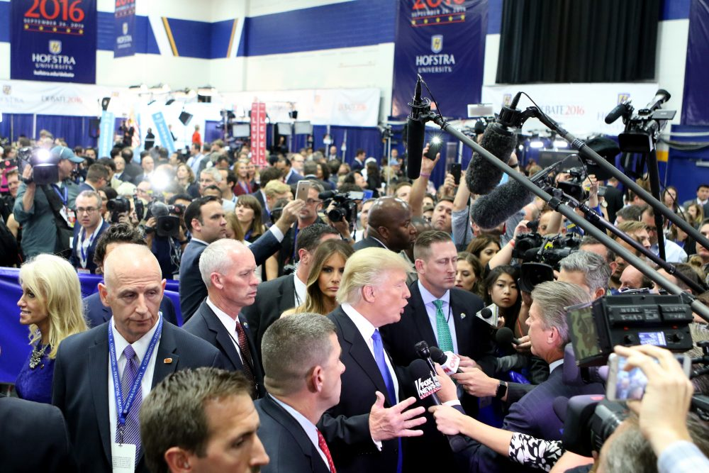Republican presidential nominee Donald Trump speaks to the media in the spin room during the Presidential Debate at Hofstra University on Sept. 26, 2016 in Hempstead, N.Y. (Michael Bocchieri/Getty Images)