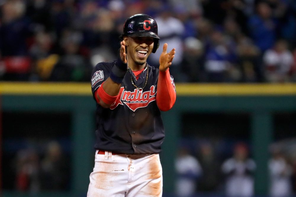 Francisco Lindor of the Cleveland Indians celebrates after stealing a base -- and winning free tacos. (Jamie Squire/Getty Images)