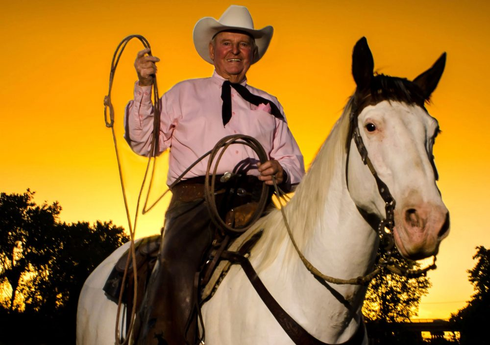 Cotton Rosser on his ranch in Marysville, Calif. (Courtesy Kevin Fox/Flying U Rodeo Company)