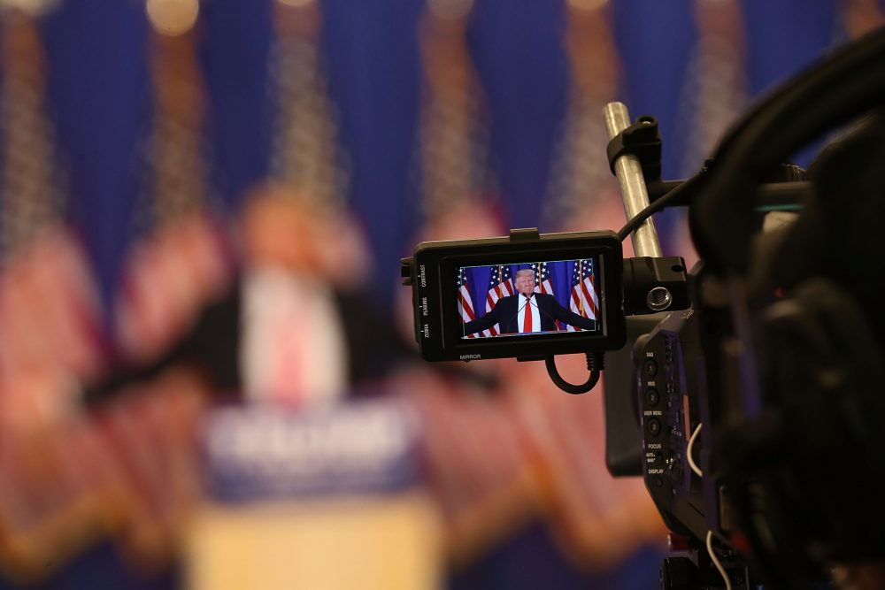 Republican presidential candidate Donald Trump seen in a television camera's viewfinder during a press conference at the Trump National Golf Club Jupiter on March 8, 2016 in Jupiter, Fla. (Joe Raedle/Getty Images)