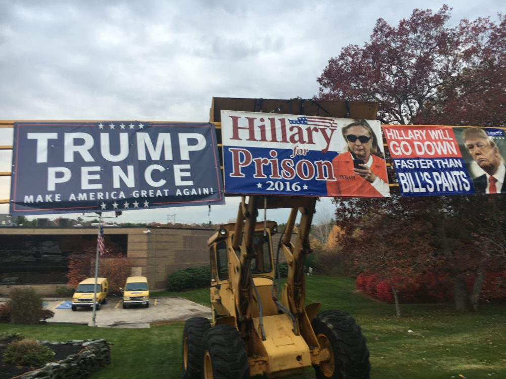 Massachusetts Trump supporters put out signs in support of the President-elect throughout the campaign season. They are now celebrating his victory. (Deborah Becker/WBUR)
