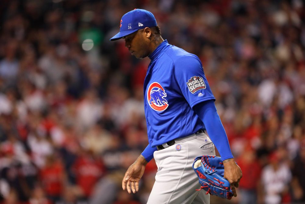 There's speculation of Aroldis Chapman being traded to the Dodgers or Yankees, which, according to Bill Littlefield., would be a bit ironic, given the fact that he was in the Yankees bullpen until mid-season.  (Jamie Squire/Getty Images)