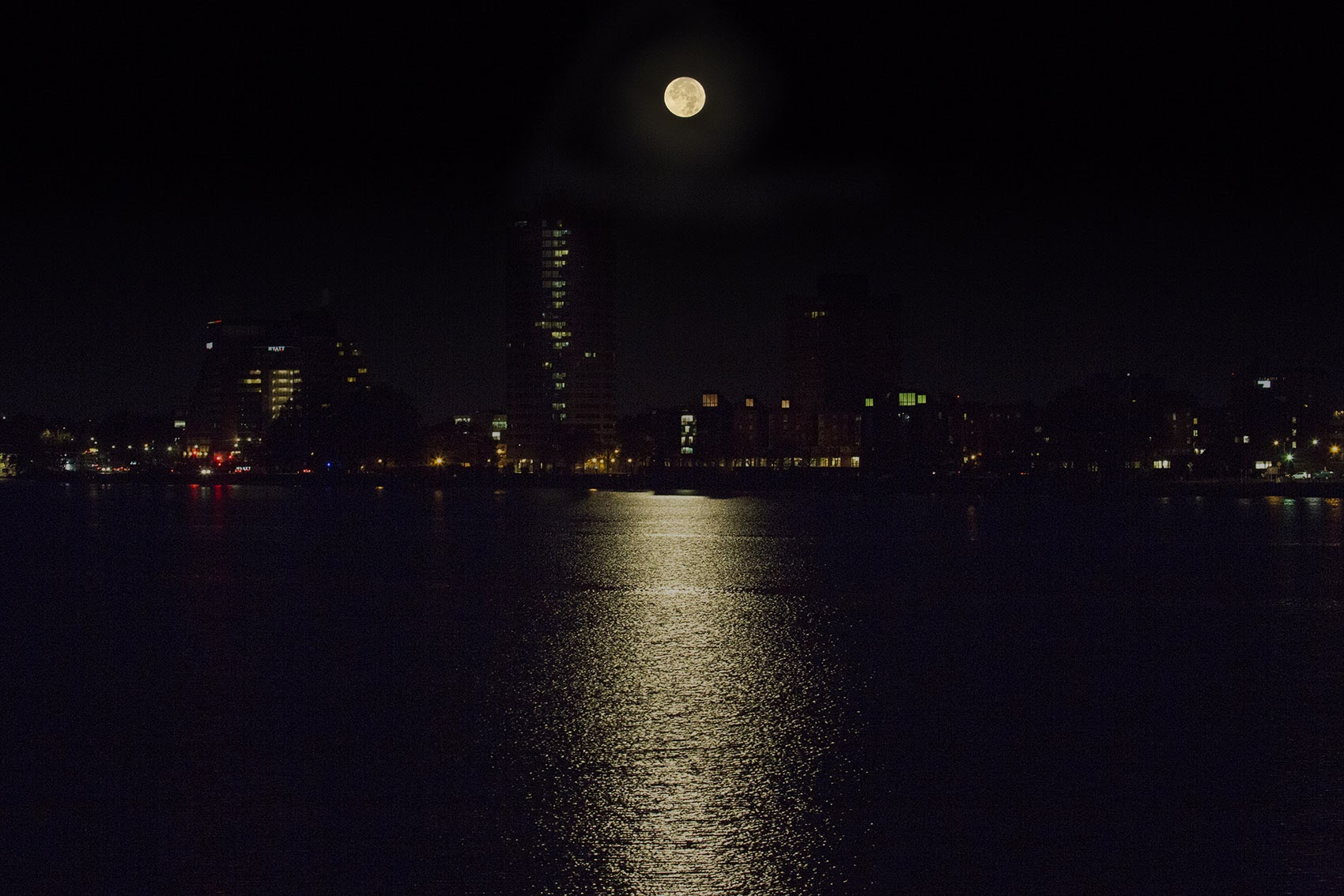 The supermoon reflecting off the Charles River early Monday morning. (Jesse Costa/WBUR)