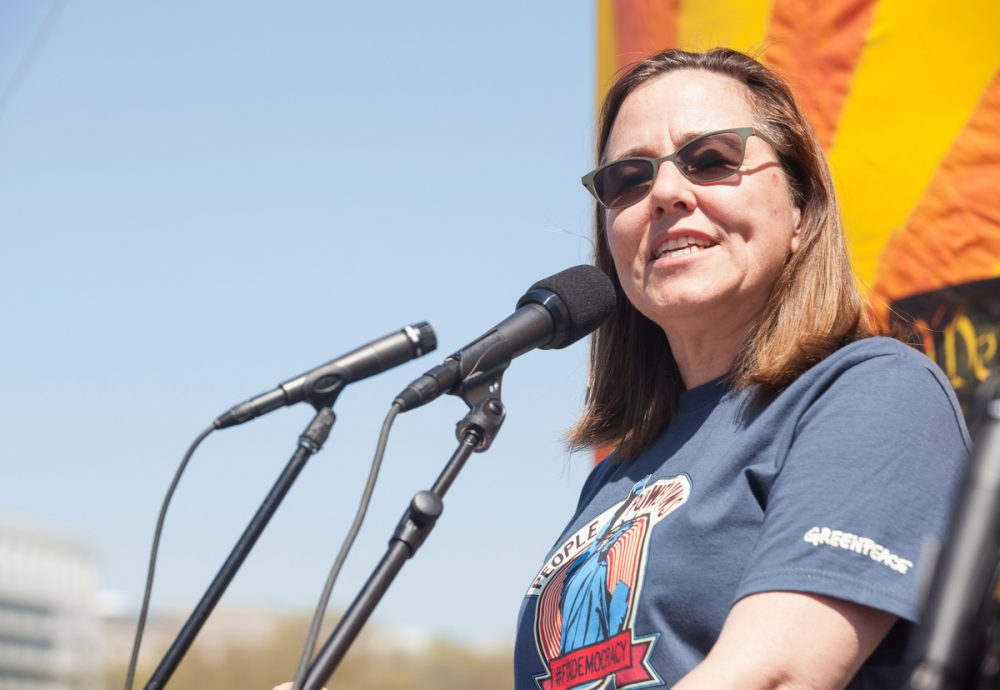 Greenpeace USA Executive Director Annie Leonard speaks at a rally in front of the U.S. Capitol in Washington in April 2016. (Courtesy Ian Foulk/Greenpeace)