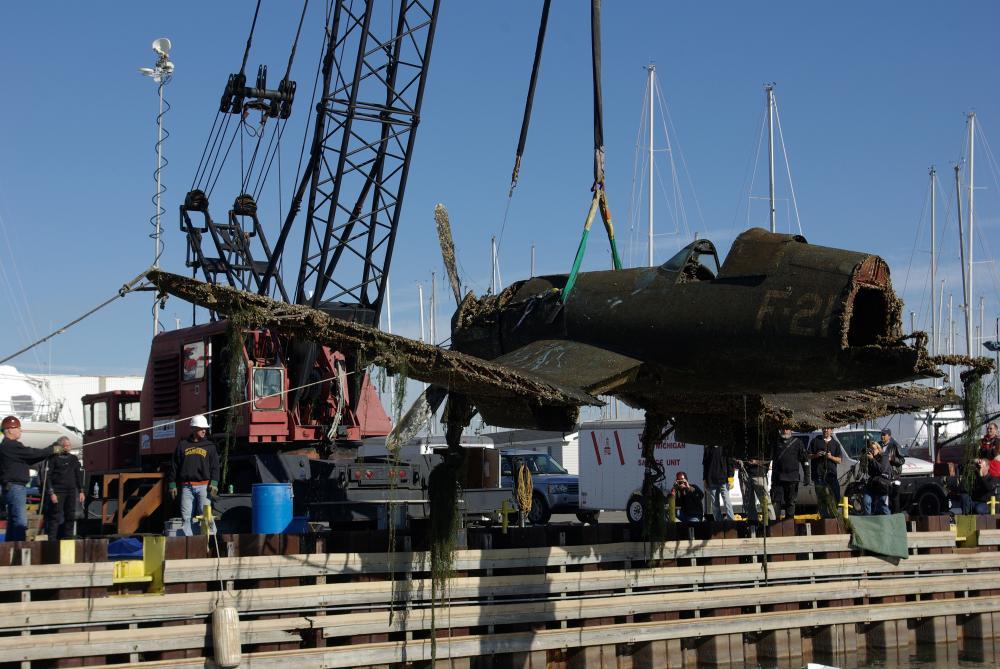 A plane recovered from Lake Michigan. (John Davies/WCPN)