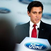 Ford CEO Mark Fields delivers a speech during his visit to a Ford factory in Valencia, Spain, in February 2015. (David Ramos/Getty Images)
