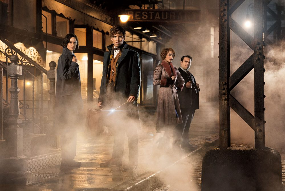 """""""Fantastic Beasts and Where to Find Them"""" stars (from left) Katherine Waterston as Porpentina Goldstein, Eddie Redmayne as Newt Scamander, Alison Sudol as Queenie, and Dan Fogler as Jacob Kowalski.  (Courtesy of Warner Bros. Pictures)"""