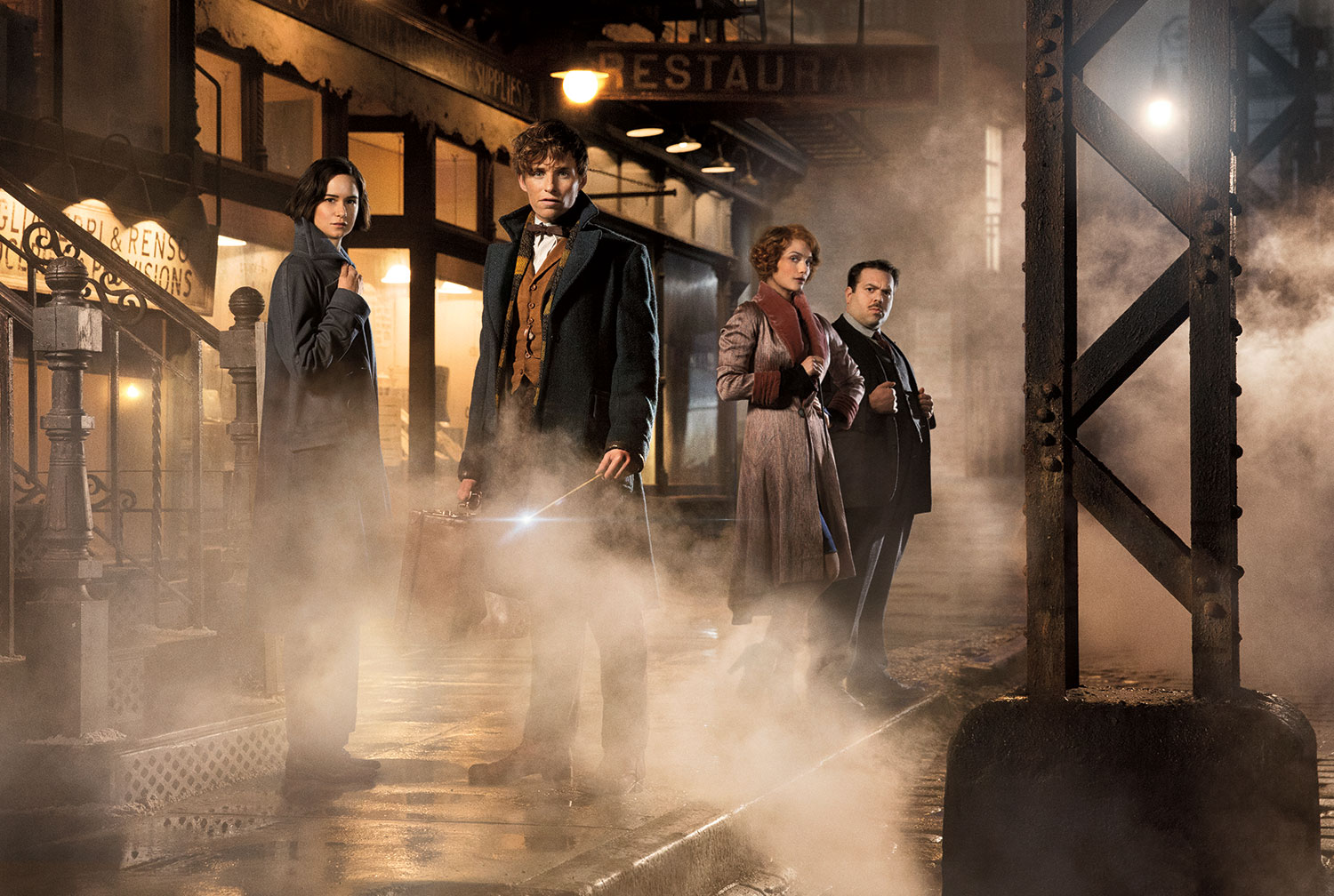 """Fantastic Beasts and Where to Find Them"" stars (from left) Katherine Waterston as Porpentina Goldstein, Eddie Redmayne as Newt Scamander, Alison Sudol as Queenie, and Dan Fogler as Jacob Kowalski.  (Courtesy of Warner Bros. Pictures)"