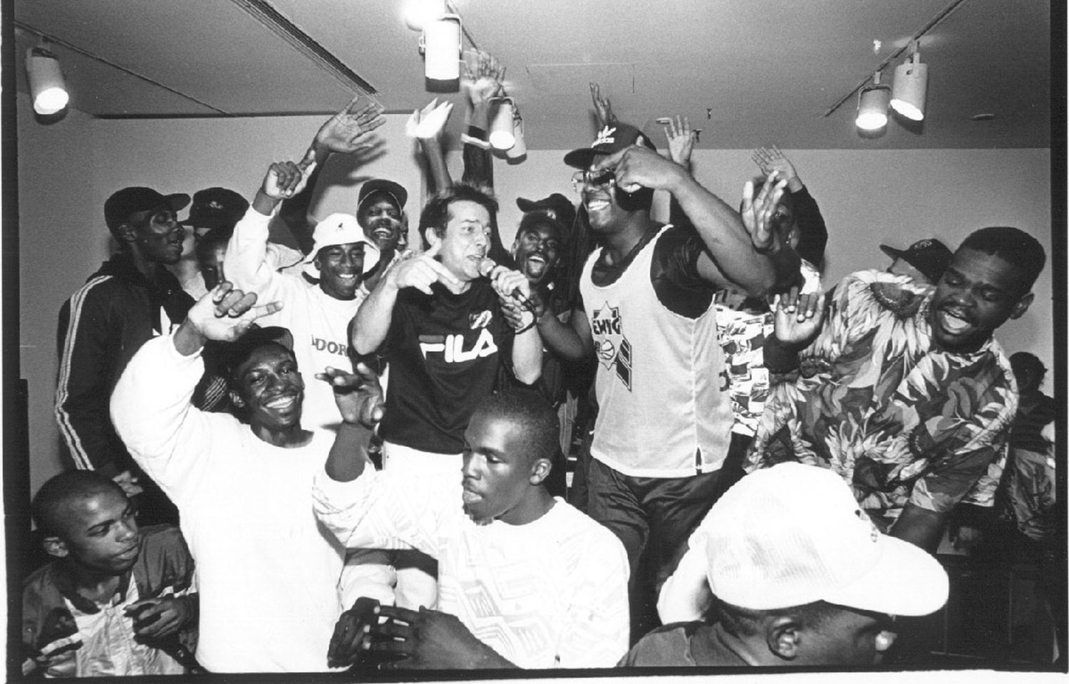 Magnus Johnstone (center) and friends at Boston's Institute of Contemporary Art for a show, c. 1987. (Courtesy Massachusetts Hip-Hop Archive)