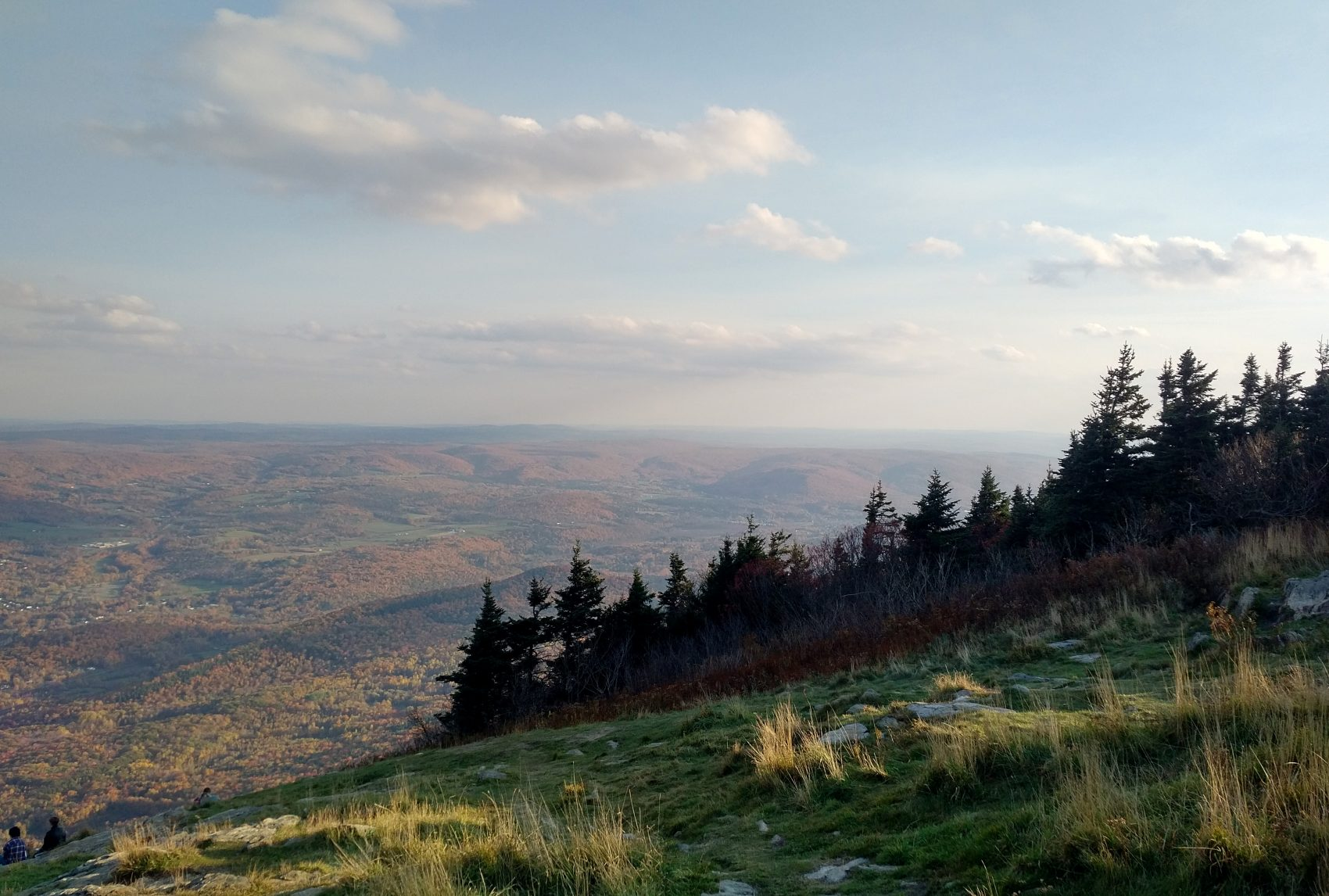 The view from Mount Greylock looking east into the town of Adams. (Bob Shaffer/WBUR)