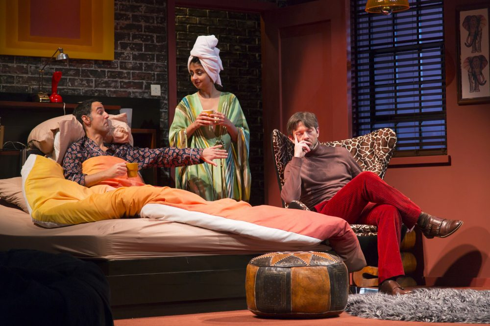 Nael Nacer, as Nick, Mahira Kakkar, as Jan, and Karl Miller, as Trevor, in the Huntington's production. (Courtesy T. Charles Erickson/Huntington Theatre Company)