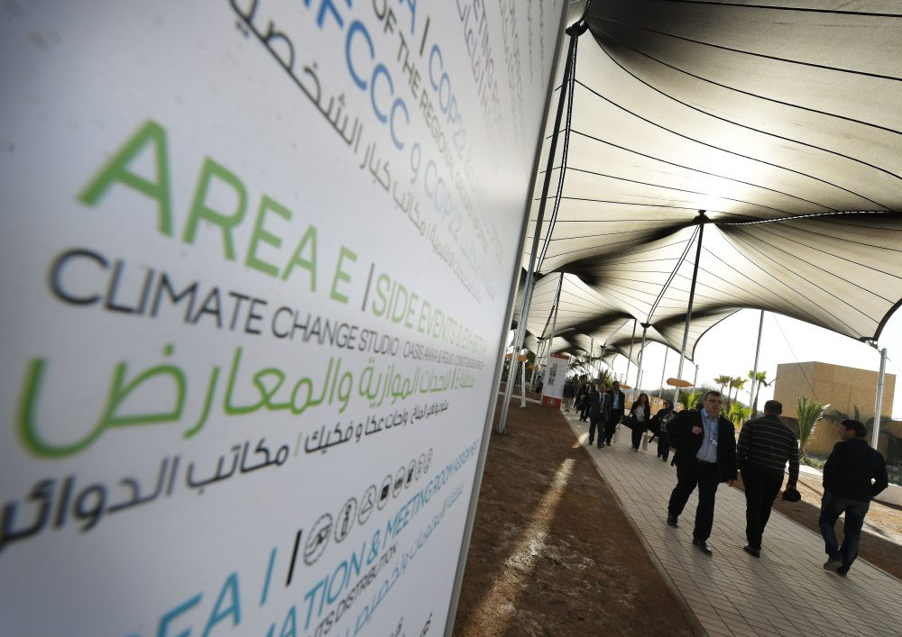Delegates arrive for a meeting at the COP22 climate change conference in Marrakech, Morocco, on Nov. 16, 2016. (Mark Ralston/AFP/Getty Images)