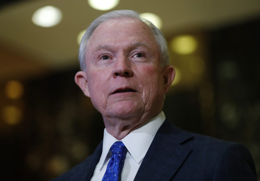 In this photo taken Nov. 17, 2016, Sen. Jeff Sessions, R-Ala. speaks to media at Trump Tower in New York. President-elect Donald Trump has picked Sessions for the job of attorney general. (Carolyn Kaster/AP)