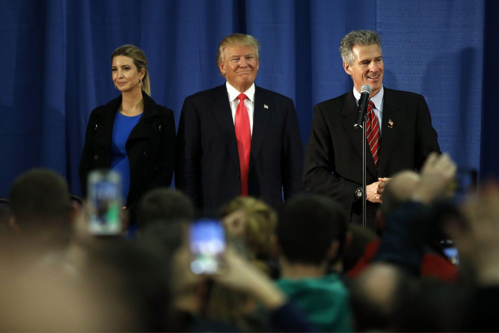 Scott Brown spoke at a campaign event for now-President-elect Trump in Milford, New Hampshire back in February. (Matt Rourke/AP)