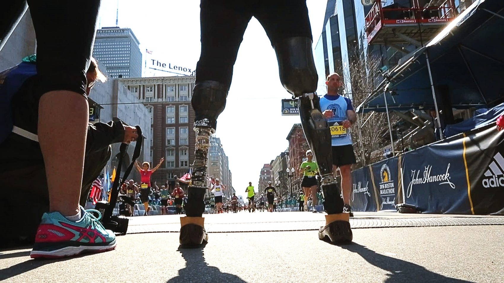 Celeste Corcoran at the 2016 Boston Marathon. (Courtesy of HBO)