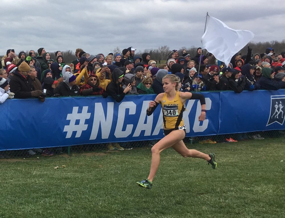 Missouri's Karissa Schweizer wins the women's individual title in the NCAA cross country championships on Nov. 19 in Terre Haute, Ind. (Alex Ashlock/Here & Now)