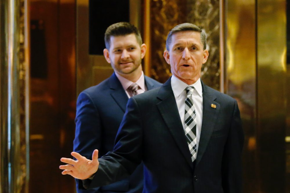 Retired Lt. Gen. Michael Flynn arrives at the Trump Tower for meetings with US President-elect Donald Trump, in New York on Nov. 17, 2016. (Eduardo Munoz Alvarez/AFP/Getty Images)
