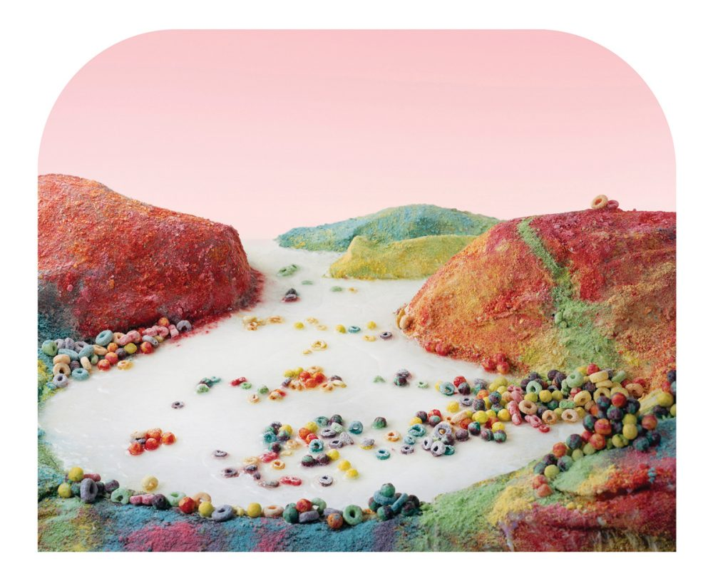 """Fruit Loops Landscape by Barbara Ciurej and Lindsay Lochman, constructed as part of the """"Processed Views"""" art exhibit, inspired by Carleton Watkins's 1863 photograph of Albion River in Mendocino County, Calif. (Courtesy Barbara Ciurej and Lindsay Lochman)"""
