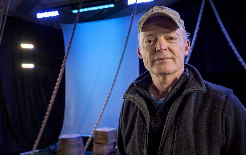 """Director Allyn Burrows at a rehearsal of Actors' Shakespeare Project's production of """"The Tempest"""" in Brookline. (Robin Lubbock/WBUR)"""