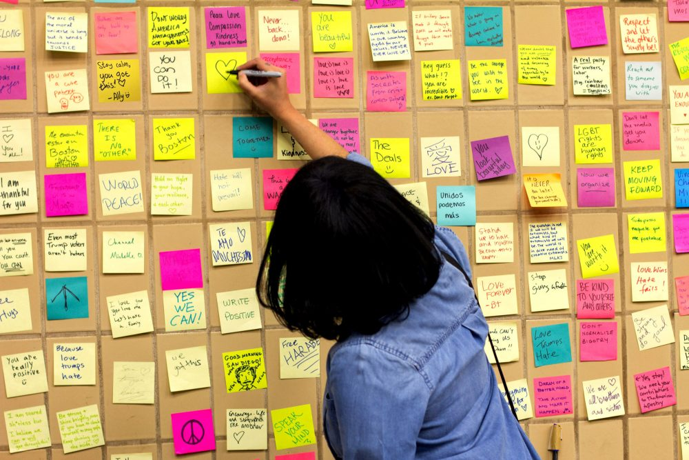 Collectively, Subway Therapy Boston received about 2,500 Post-it notes as it was set up in the Park Street and Harvard Square T stations on Nov. 11 and 18. (Courtesy Alan Fang)