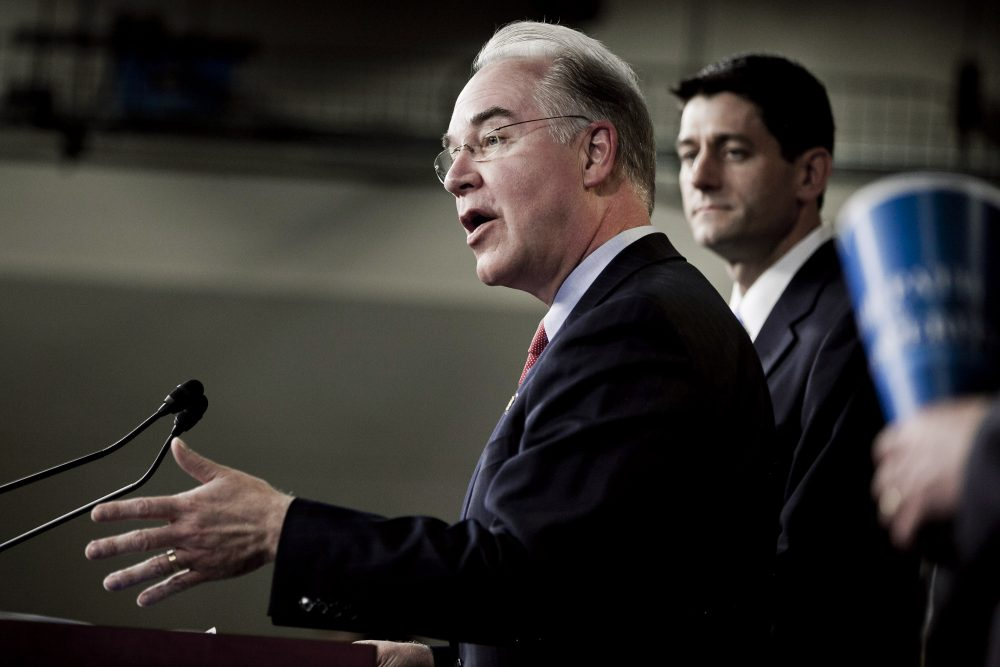 U.S. Rep. Tom Price (R-GA) (L) speaks as House Budget Chairman U.S. Rep. Paul Ryan (R-WI) listens during the introduction of the House Budget Committee's FY2013 budget at a news conference at the Capitol on March 20, 2012 in Washington, D.C. (T.J. Kirkpatrick/Getty Images)