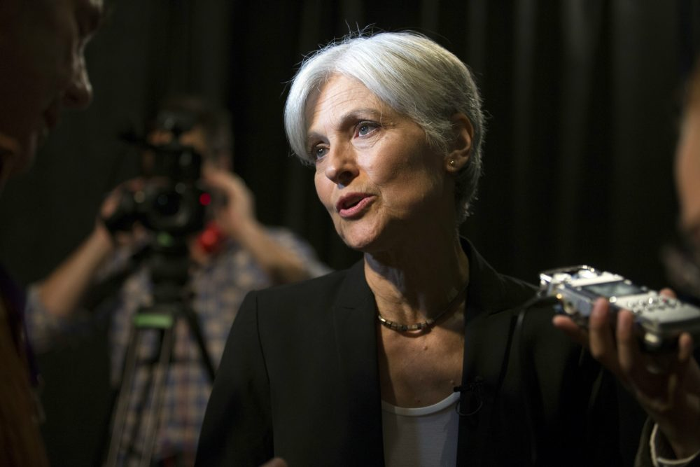 In this Oct. 6, 2016 file photo, Green party presidential candidate Jill Stein meets her supporters during a campaign stop at Humanist Hall in Oakland, Calif. Stein is on track to raise twice as much for an election recount effort than she did for her own failed Green Party presidential bid. (D. Ross Cameron/AP)