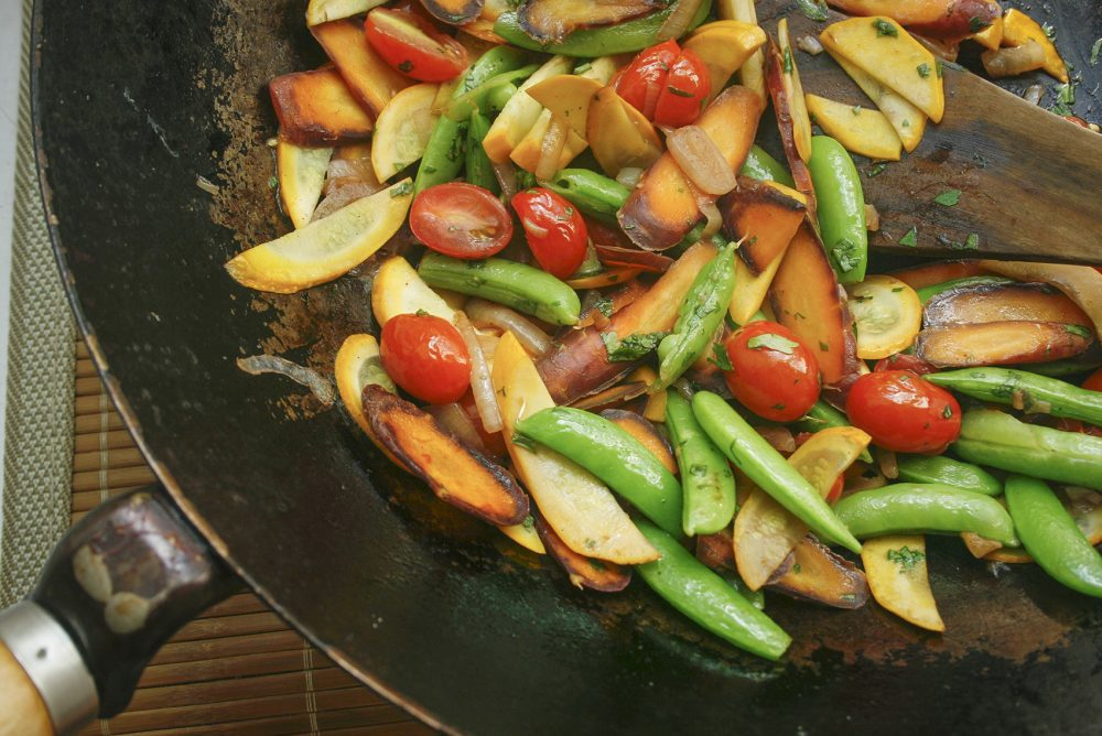 Grace Young's farmer's market vegetable stir-fry in her favorite wok. (Courtesy Grace Young)