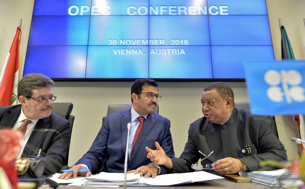Organization of Petroleum Exporting Countries (OPEC) Secretary General Nigerian Mohammed Barkindo (R), the Chairman of the OPEC Board of Governors Algerian Mohamed Hamel (L) and the President of OPEC Mohammed bin Saleh al-Sada (C) attend a meeting at the OPEC headquarters in Vienna, Austria on Nov. 30, 2016. (Herbert Neubauer/AFP/Getty Images)