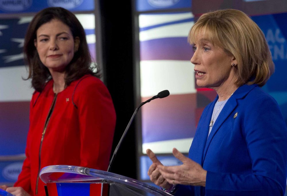 Republican incumbent Kelly Ayotte, left, and Democrat Gov. Maggie Hassan, on Nov. 2 in Manchester, N.H. (Jim Cole/AP)