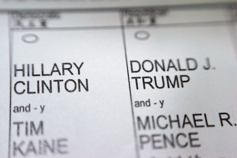 A New York City election ballot shows the names of Democratic presidential candidate Hillary Clinton and Republican presidential candidate Donald Trump. (Patrick Sison/AP)