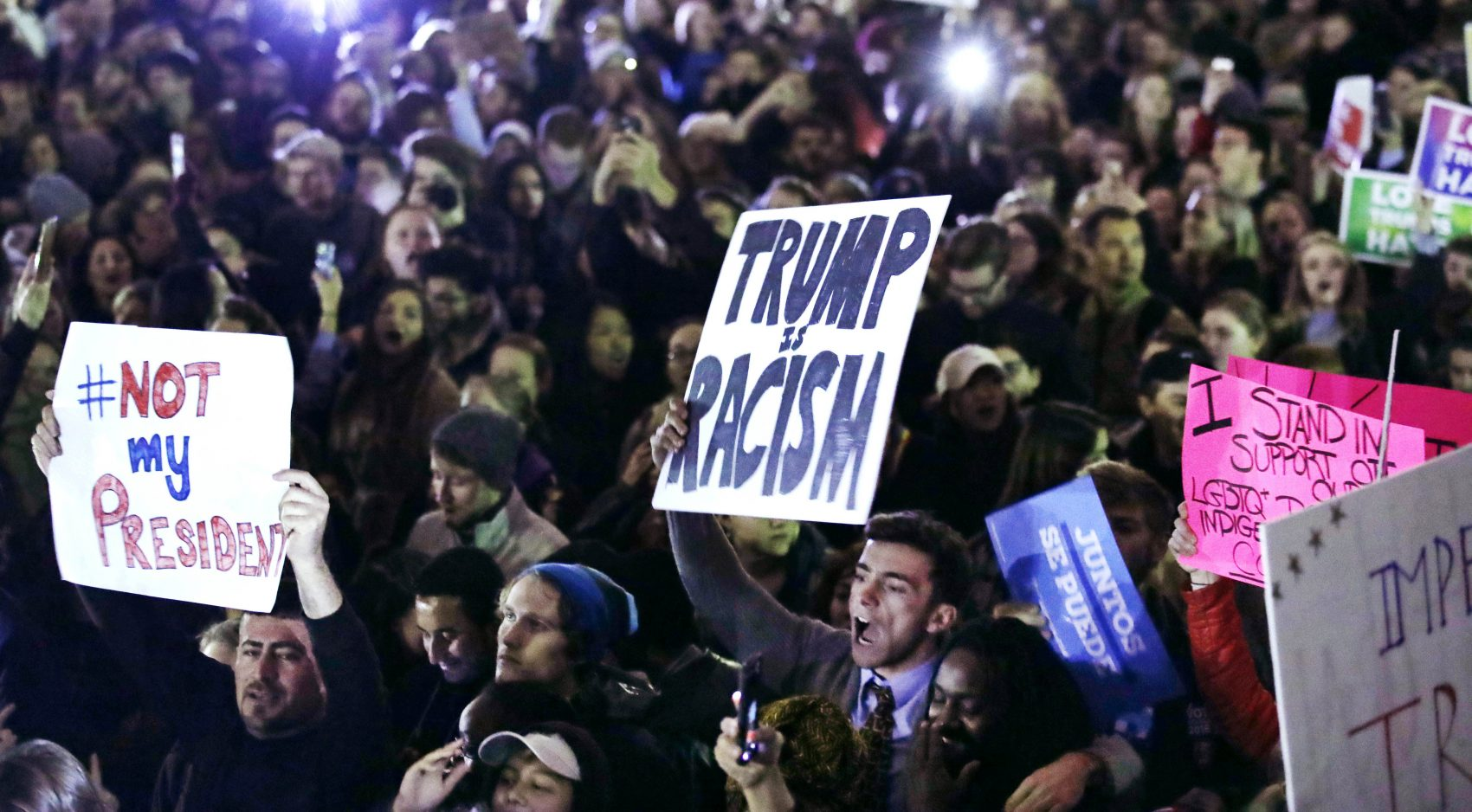 Hundreds protest in opposition of Donald Trump's presidential election victory on Boston Common  Wednesday evening. (Charles Krupa/AP)